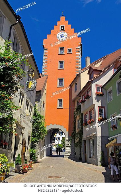 Meersburg, Market square, Obertor gate tower, Lake Constance, Bodensee, Baden-Wuerttemberg, Germany, Europe