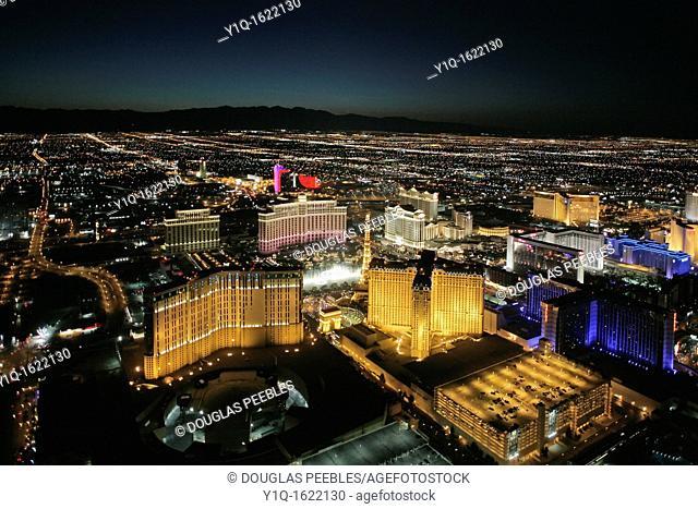 Aerial tour, Las Vegas at night, Nevada, USA