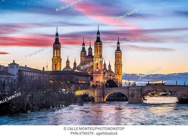 Spain, Aragon Region, Zaragoza City, El Pilar Basilica