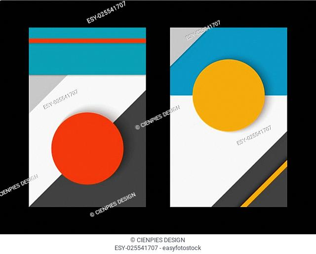 Material design abstract background set, geometry compositions with colorful paper style decoration in 3d. EPS10 vector