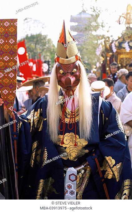 Japan, island Honshu, Tokyo, Sensoji temples, Jidai Matsuri festival, man, disguise, Tengu, series, Asia, East-Asia, Asakusa, Kannon-Temple, party, holiday