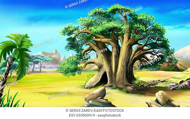 Digital painting of the African baobab in a summer day