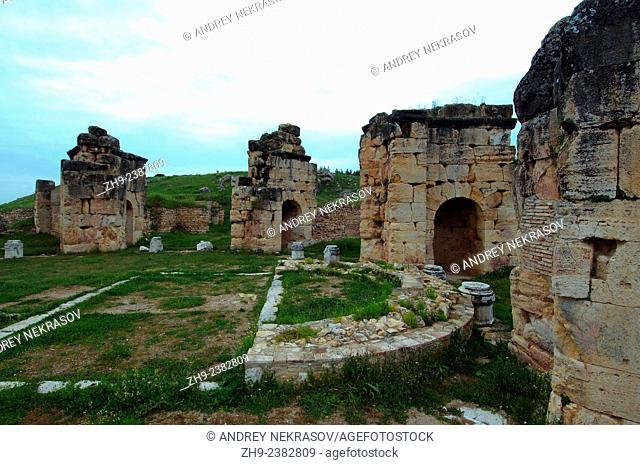 The ruins of the ancient Orthodox Church, Antique city of Hierapolis, Pamukkale, Turkey, Western Asia