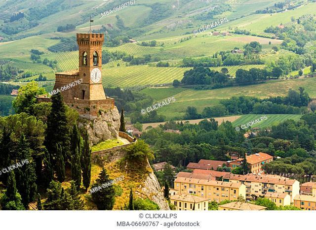 Castle, Brisighella, Province of Ravenna, Emilia Romagna, Italy. Medieval clock tower in village