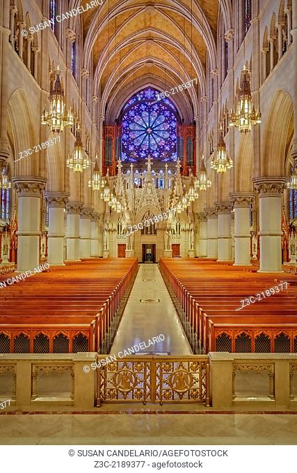 A view from the Altar to the rear of the Church of the Sacred Heart Basilica which is located in Newark, New Jersey