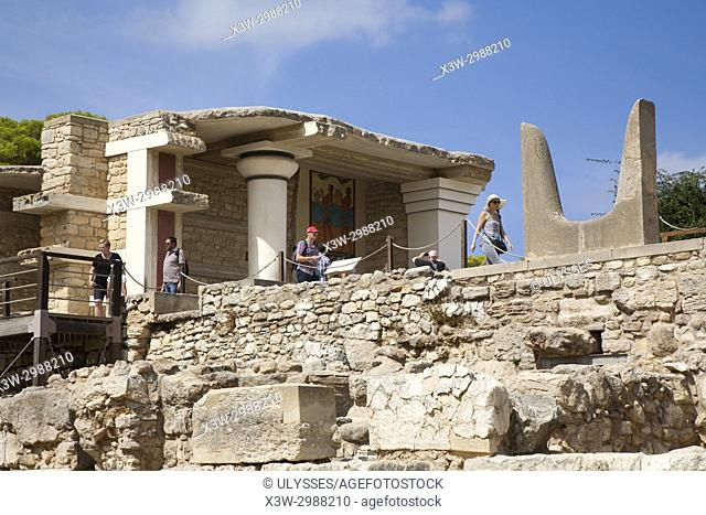 South facade and Propylaeum with Horns of consecration symbol of Minoan sacred bull, Knossos palace archaeological site, Crete island, Greece, Europe