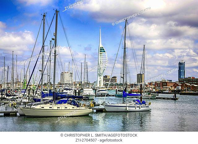Gosport Harbour and Marina with Portsmouth and the Spinnarer Tower in the background