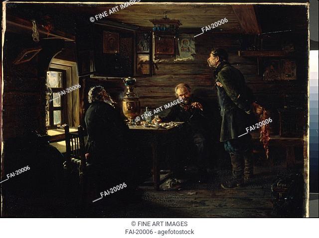 The Nightingale Lovers. Makovsky, Vladimir Yegorovich (1846-1920). Oil on canvas. Realism. 1872-1873. Russia. State Tretyakov Gallery, Moscow. 55x76