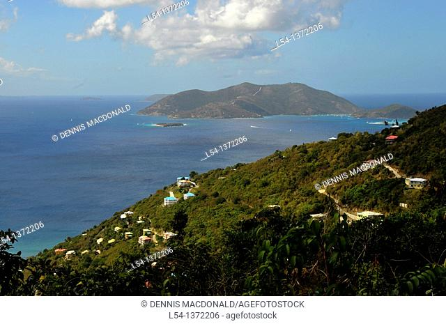 Jost Van Dyke Island viewed from Tortola BVI Caribbean Sea