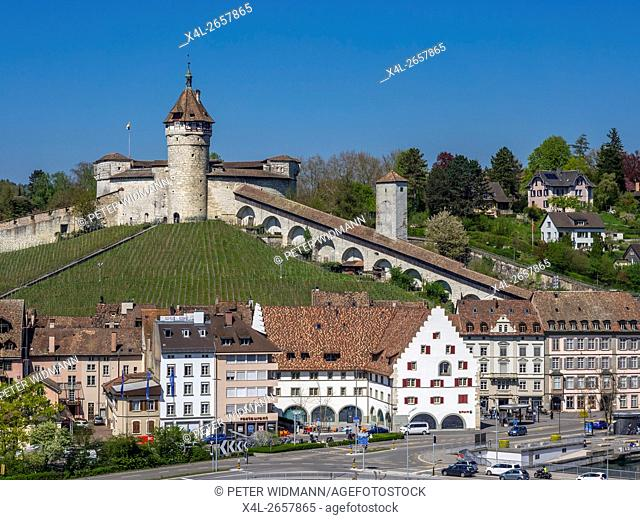 View of old town of Schaffhausen and Munot Fortress, Canton of Schaffhausen, Switzerland, Europe