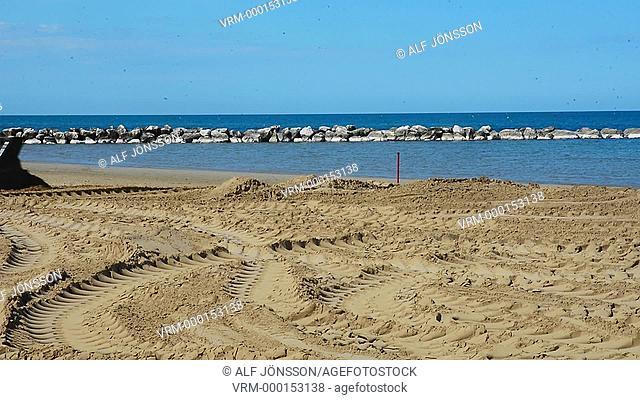 Beach repair in Pesaro, Italy