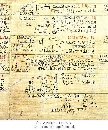 Egyptian civilization. Rhind Mathematical Papyrus, written in hieratic script, circa 1650 b.C.  London, British Museum