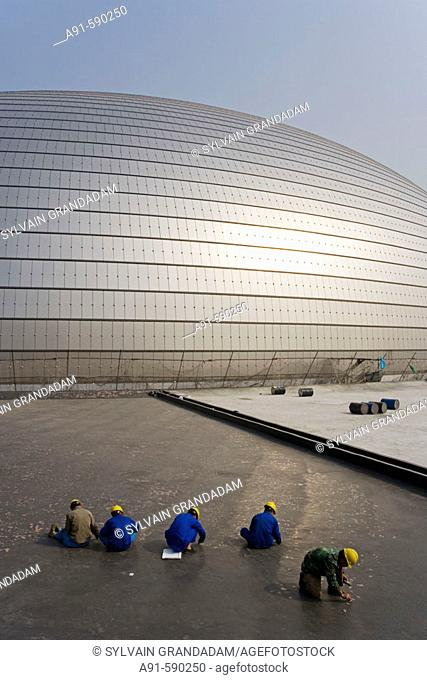 New National Opera House building site by Tianenmen square (Paul Andreu architect).Beijing. China