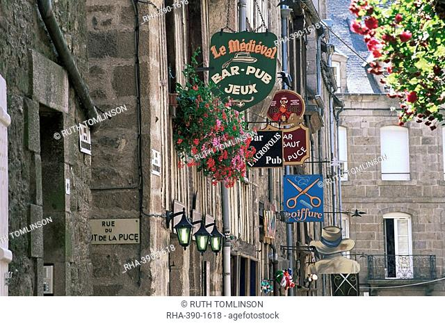 Traditional signs, Dinan, Cotes d'Armor, Brittany, France, Europe