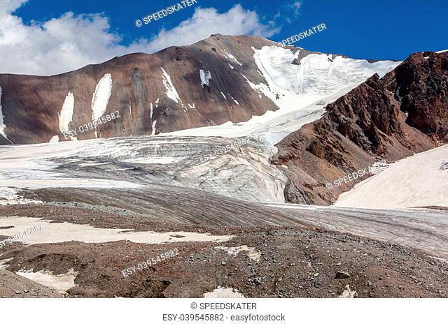 Mountain landscape of glacier. Tien Shan, Kirghizia