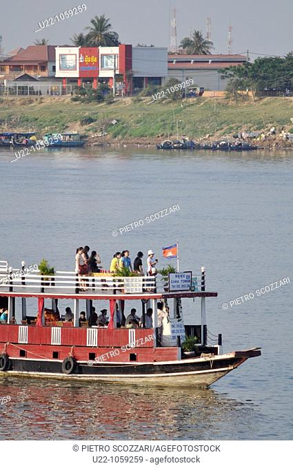 Phnom Penh (Cambodia): touristic boats on the confluence of the Tonlé Sap, Mekong, and Bassac rivers