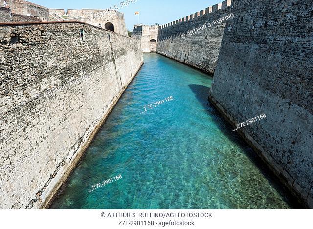 Royal Walls (Murallas Reales) and navigable moat, Ceuta, autonomous city, Spain, North Africa, Moroccan coastline