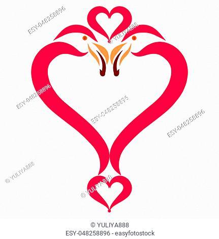 Heart, birds in love, flamingos