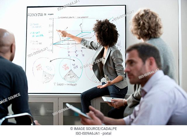 Businesswoman using graph in meeting