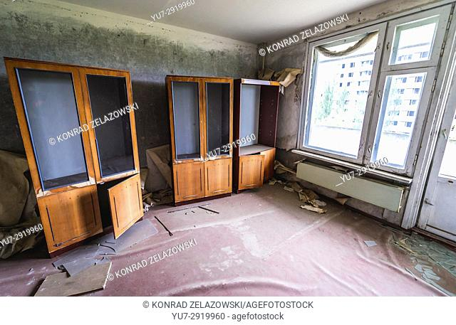 Interior of flat in 16-stored block of flats in Pripyat ghost city of Chernobyl Nuclear Power Plant Zone of Alienation in Ukraine