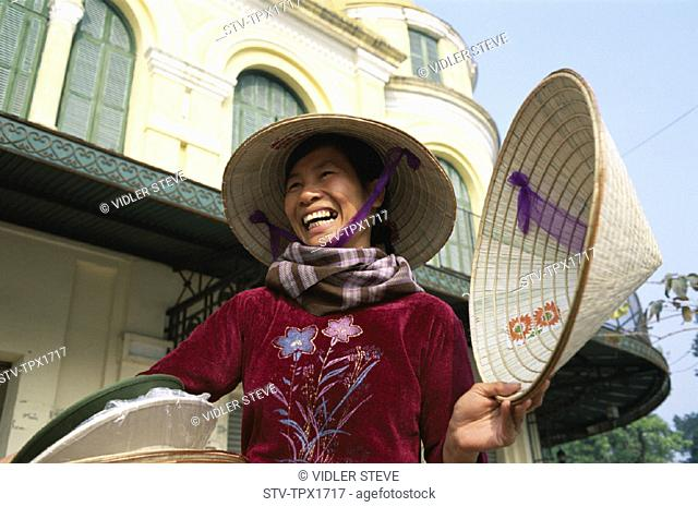 Asia, Conicle, Female, Hanoi, Hats, Holiday, Landmark, Selling, Street, Tourism, Travel, Vacation, Vendor, Vietnam, Woman