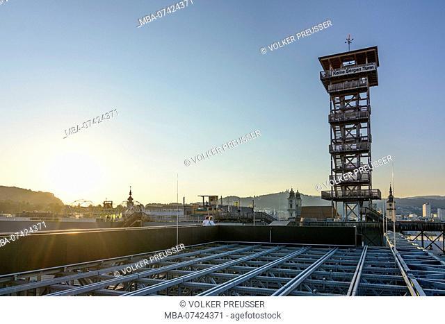 Linz, wooden observation tower 'Keine Sorgen Turm' in exhibition 'Höhenrausch 2016' in OÖ Kulturquartier, Donau, Oberösterreich, Upper Austria, Austria