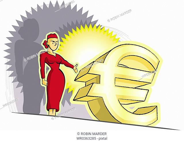 Woman with Euro Symbol