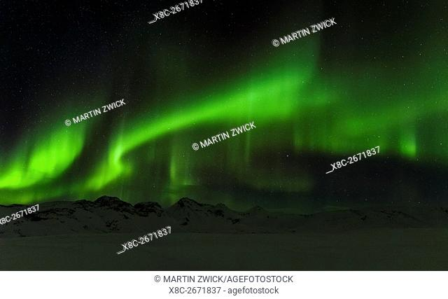 Northern Lights or aurora borealis over the mountains between Thingvellir and Laugarvatn during winter in Iceland. europe, northern europe, iceland, February