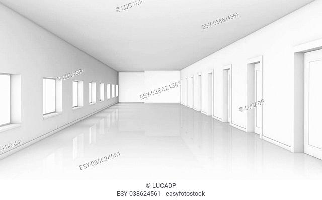 front view of a large corridor with doors on one side and windows on the other side. The corridor is empty and white (3d render)