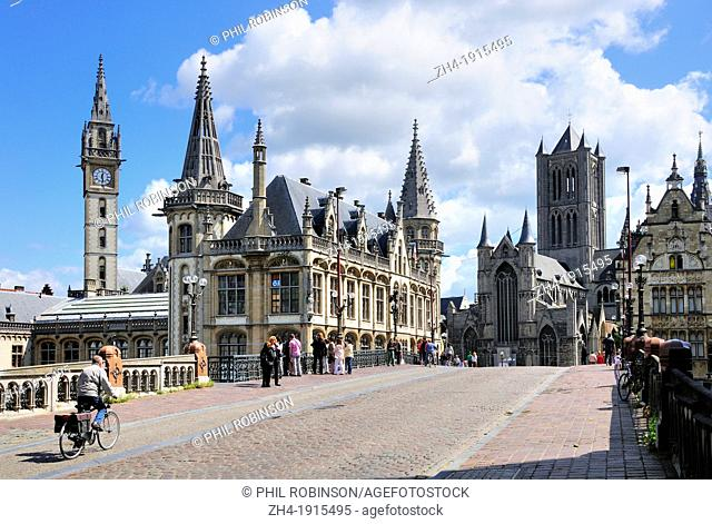 Ghent / Gent, Belgium. Michielsbrug / St Michael's Bridge, City skyline