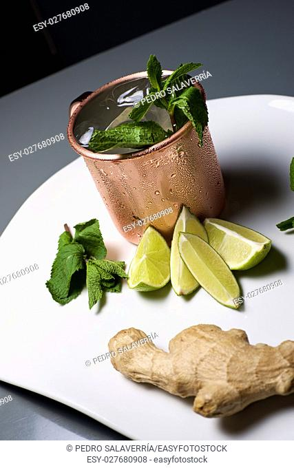 Moscow mule, also known as Vodka buck, and ingredients