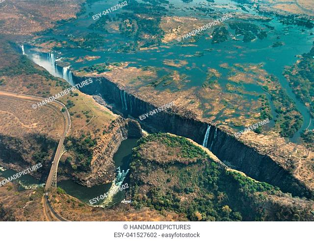 Victoria Falls in Zimbabwe at drought, aerial shot made from a helicopter
