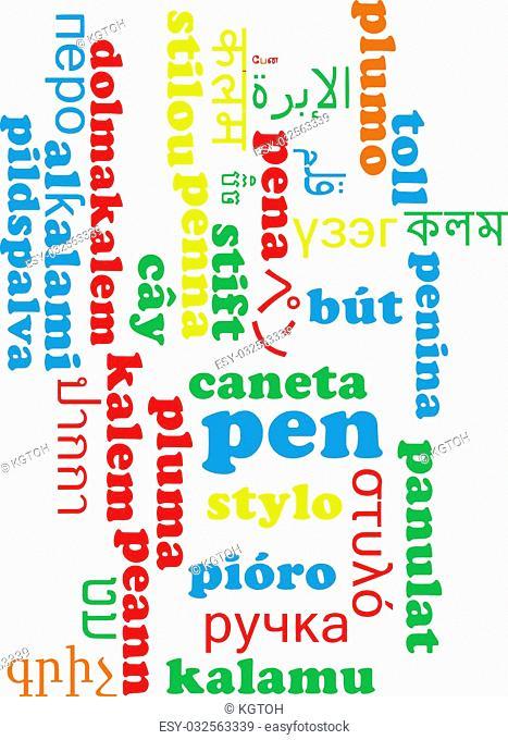 Background concept wordcloud multilanguage international many language illustration of pen
