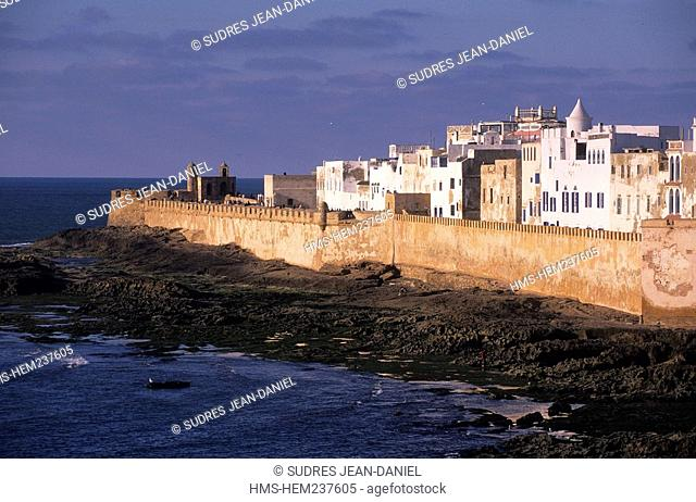 Morocco, Essaouira, the city and the walls of the medina listed as World Heritage by UNESCO towards the Skala harbour
