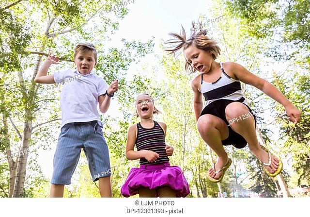 Three siblings jumping in the air in a park during a family outing; Edmonton, Alberta, Canada