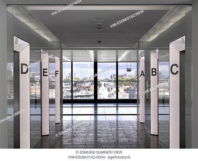 60 London at Holborn Viaduct, London, United Kingdom. Architect: Kohn Pedersen Fox Associates (KPF), 2014. Lift lobby on upper level