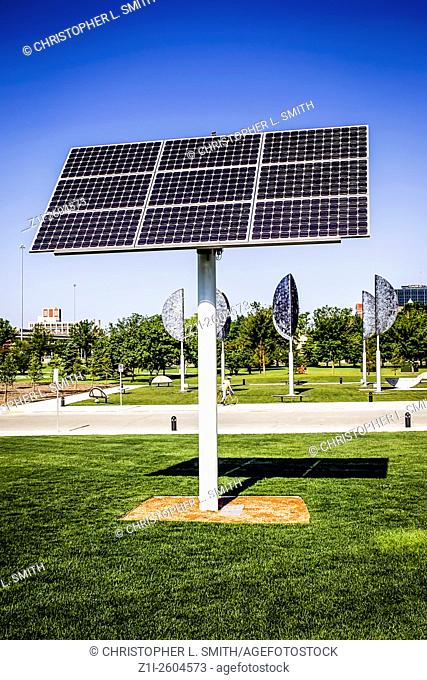 Rotating Solar energy panels on the waterfront in Milwaukee WI