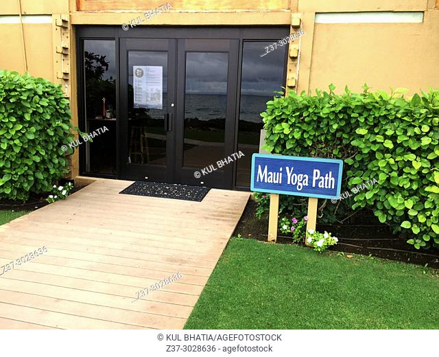 Yoga Path, a popular center for Yogic activities next to the beach, Maui, Hawaii, USA. Not all action is on water and sand in Maui