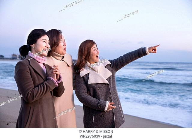 Three smiling middle aged women on beach
