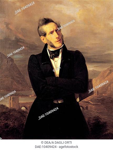 Portrait of Alessandro Manzoni with views of Lecco, 1835, painting by Giuseppe Molteni (1800-1867), landscape painted by Massimo d'Azeglio (1798-1866)