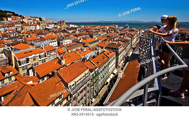 View of Baixa and Alfama from Santa Justa Lift or Carmo Lift, Elevador de Santa Justa, Baixa, Lisbon, Portugal, Europe