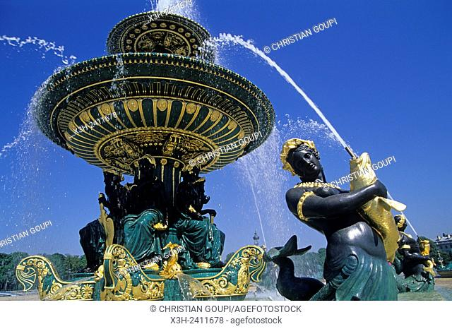 Maritime Fountain on Place de la Concorde designed by Jacques Ignace Hittorff, 8e arrondissement, Paris, Ile de France region, France, Europe
