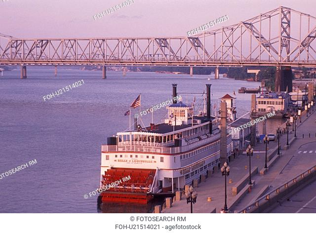 riverboat, Louisville, KY, Kentucky, Ohio River, Belle of Louisville Riverboat a stern wheel steamboat docked along the Ohio River