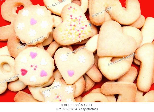 Cookies decorated with hearts