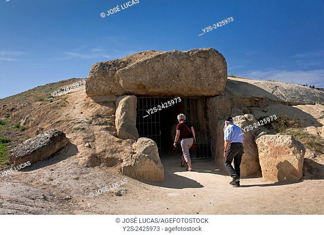 Dolmen - Cueva de Menga - entrance, Antequera, Malaga province, Region of Andalusia, Spain, Europe