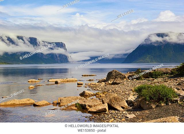 Western Brook Pond, a lake fjord amongst the Long Range Mountains in Gros Morne National Park a UNESCO world heritage site, Newfoundland, Canada