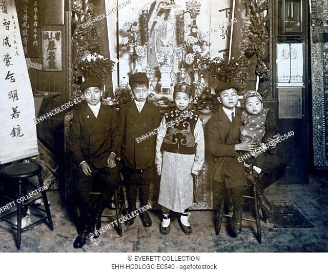 Five boys at New Year's celebration, Chinatown, New York City, Jan 30, 1911