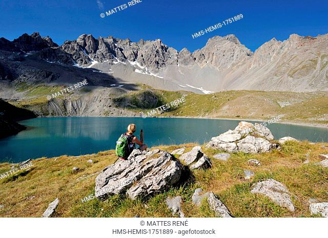 France, Hautes Alpes, near Ceillac, Sainte Anne lake (2415 m), regional natural park of Queyras