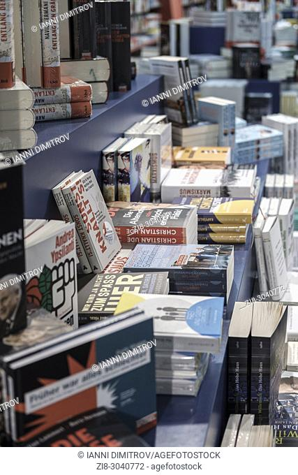 Imternational books translated to German on display, Bookshop, Berlin, Germany