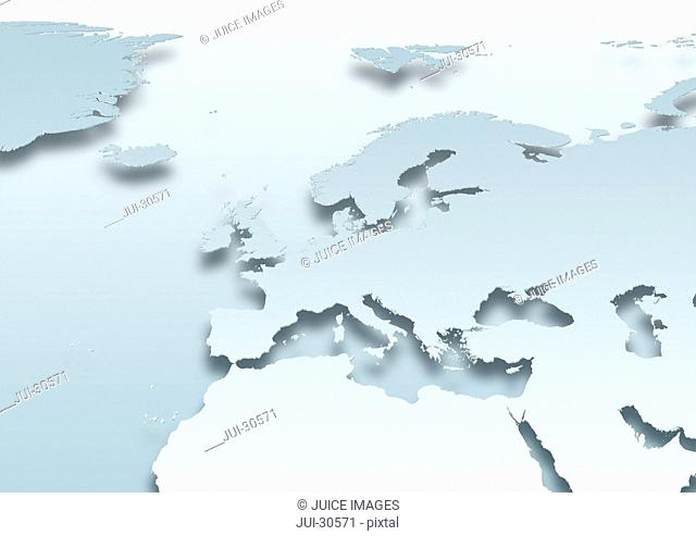 map, Western Europe, political, grey land, grey